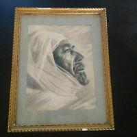 Rare grand portrait orientaliste homme arabe Maghreb fusain et pastel XIXème
