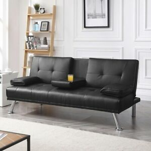 Best Choice Products Modern Faux Leather Fold Down Convertible Futon Sofa Bed...