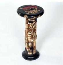 Legno intagliati a mano scheletro Sgabello da giardino Teschio Pirata commercio equo e solidale Partito Sedia