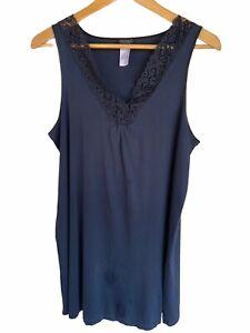 HANRO Tank nightgown  Large sleeveless Deep Navy