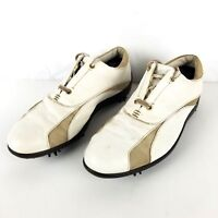 FootJoy Women US 9M Lo Pro Leather White Tan Lace Up Soft Spike Golf Shoes 97131