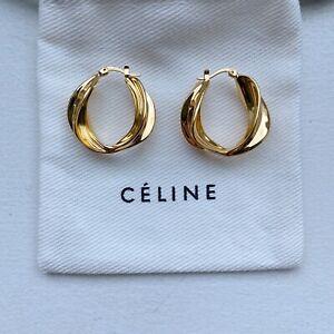 MINT!! Celine Gold Plated Brass Abstract Swirl Hoop Earrings Phoebe Philo
