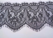 """5.75"""" Wide Black Floral Eyelash Chantilly Lace Fabric for Lingerie Table Runners"""