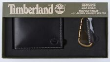 TIMBERLAND Men's Black Genuine Leather Billfold Wallet and Key Fob - Boxed
