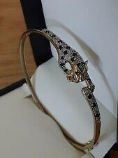 VINTAGE 9ct YELLOW/WHITE GOLD BANGLE DIAMOND & SAPPHIRE PANTHER LEOPARD, 8.19 gm