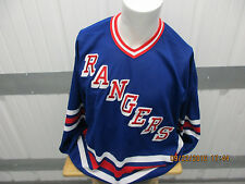 VINTAGE CCM NHL NEW YORKS RANGERS XL BLUE SEWN JERSEY 90s PRE-OWNED
