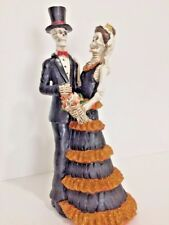 Skeleton Bride and Groom Spooky Sparkly Wedding Couple Statue Decor Cake Topper