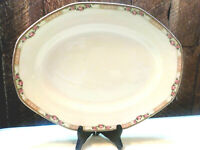 Antique Serving Platter Ivory Pink Rose Pattern WH Grindley and Co England 14""