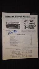 sharp qt-27 Service Manual Original book boombox ghettoblaster tape player radio