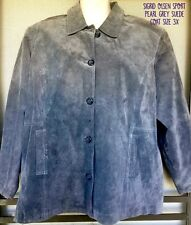 SIGRID OLSEN Plus Size 3X Pearl Gray Suede Leather Swing Coat Button Lined