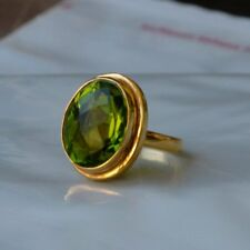 Rich Green Peridot Quartz Sterling Silver Yellow Gold Handmade Gift Ring Size 8