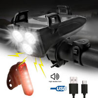Super Bright LED Bicycle Bike Lights USB Rechargeable Headlight Front Rear Lamp