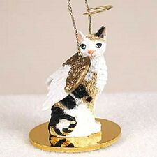 Cornish Rex Tortoise & White Cat Angel Ornament