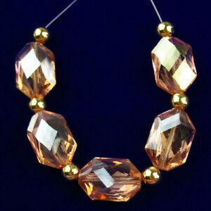 5Pcs/set Faceted Pink Titanium Crystal Hexagon Pendant Bead H77846