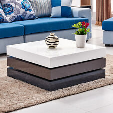 White High Gloss Coffee Table  Rotatable 3 Tier White+Grey Storage Square