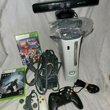 Lot of Xbox 360 fat system white console 2 games + kinect +power Cords ext.