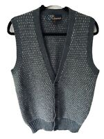 St. Edmonds 100% Shetland Wool Gray Birdseye Button Sweater Vest Mens Medium