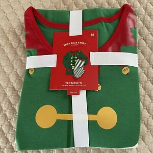 Wondershop Women's Size M Holiday Elf Matching Family Pajama Set Green