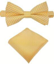 Fliege + Einstecktuch Schleife Querbinder Binder de Luxe 601 gelb gold Krawatten