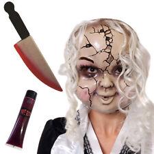 Rotto Bambola Maschera Finto Coltello e sangue Halloween Costume Accessorio