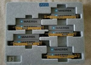 KATO. 106-6143 N Scale Gunderson Double Stack TTX 5 Car Set w/ Maersk Containers