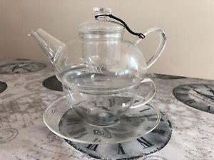 Tea pot T2 glass tea cup set tea for 1