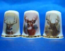 Birchcroft China Thimbles -- Set of Three -- Deer