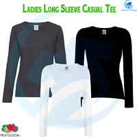 FRUIT OF THE LOOM Women Valueweight Long Sleeves T-Shirt Casual Summer Soft Tee
