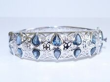 GENUINE! 11.62ctw!! African London Blue Topaz Solid 925 S/Silver Bangle!