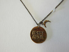 FREE PEOPLE NECKLACE MONTH JUNE HONEY MOON DISTRESSED GOLD LONG # 254-05