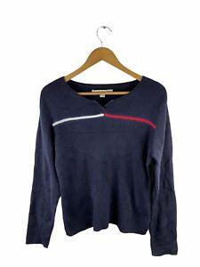 VINTAGE Tommy Hilfiger Knit Pullover Jumper Women Size XL Blue Casual Round Neck