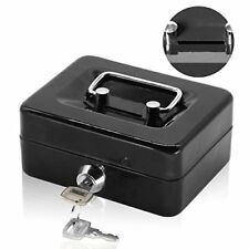 Compact Metal Safe Piggy Bank Secure Lock Money Box Cash Coin Heavy-Duty, Black