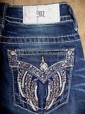 NWT MP8832T Miss Me Metallic Gold Wing Dark Blue Jeans Straight Cut Size 29 $99