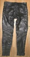 "Fat Men's Leather Jeans/Lace-Up Leather Trousers IN Black Approx. W32 "" / L33 """