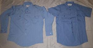 Flagstaff Men S/S Security Work Shirt Button Front  Uniform Blue Size Medium