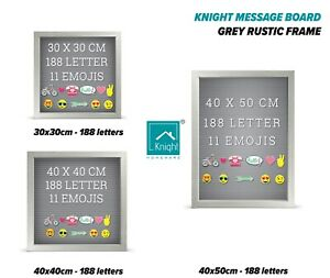 Knight Message Board 188 White Letters 11 Emojis Grey Rustic Frame Letter Board