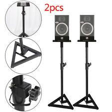 2x Monitor Speaker Stands Adjustable DJ Studio Monitor Stands Black Steel