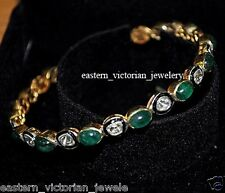 Amazing Vintage 2.20Cts Antique cut Diamond Emerald Silver Lovely Bangle Jewelry