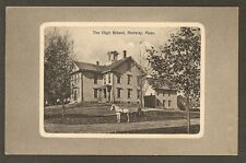 POSTCARD:  HIGH SCHOOL - MEDWAY, MASSACHUSETTS - HORSE & BUGGY in FOREGROUND
