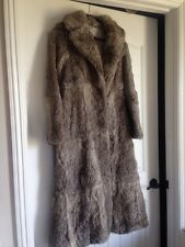 Womens Coney Rabbit Fur Coat Full Length Trench Genuine Long Medium Taupe Real