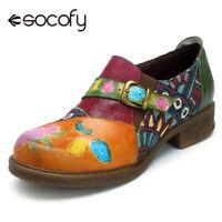 SOCOFY Women Retro Shoes Jacquard Splicing Genuine Leather Zipper Pumps Low Heel