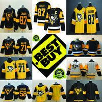 Pittsburgh Penguins Hockey Jersey Men 87 Crosby 71 Malkin 58 Letang 59 Guentzel