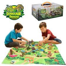 Kids Dinosaur Toy Figure w/ Activity Play Mat & Trees Realistic Dinosaur Playset