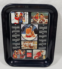 Coca Cola Metal Tray 1982 Calendar Advertising Sports Beach Fun