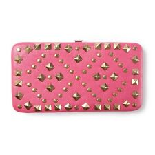 Pink Faux Leather and Pyramid Studs Hardcase Wallet - NWT
