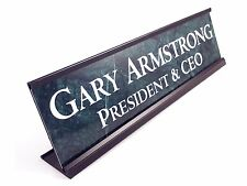 "Desk name plate marble look with black color aluminum holder 2""x8"" personalized"