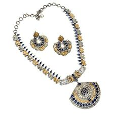 Indian Ethnic Necklace Set With Earring Dual Tone Silver Polish Designer Jewelry
