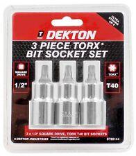 """Dekton 3 Piece 1/2"""" Drive Torx Socket Bit Set T40 Tool Kit DT85144"""