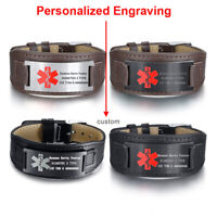 Personalized Genuine Leather Medical Alert ID Men's Bracelet Cuff Free Engraving