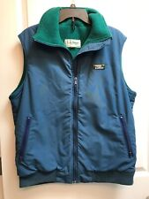 Vintage LL Bean Vest Large Polarplus Blue Green Usa Nylon Polyester Mens Winter